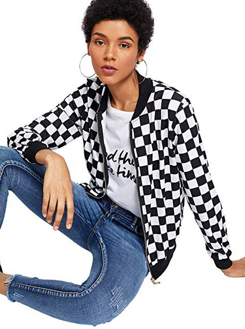 WDIRARA Women's Zip Front Plaid Print Long Sleeve Stand Collar Casual Jacket black and white