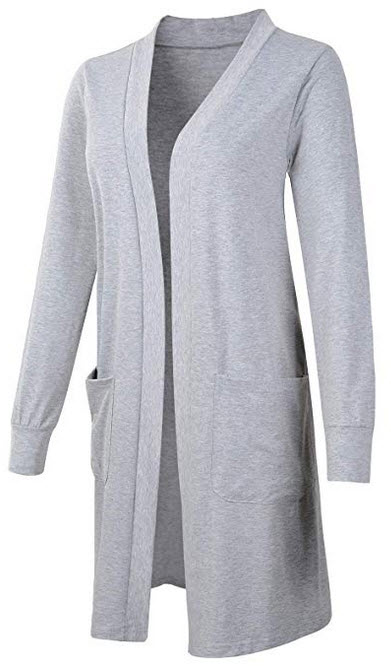 WEIYAN Women's Long Sleeve Open Front Lightweight Kimono Loose Cardigan Sweater Coat Lgray