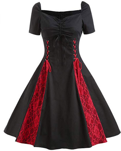 Wellwits Women's Lace-up Lace Insert Sweetheart Gothic Party Vintage Dress, black