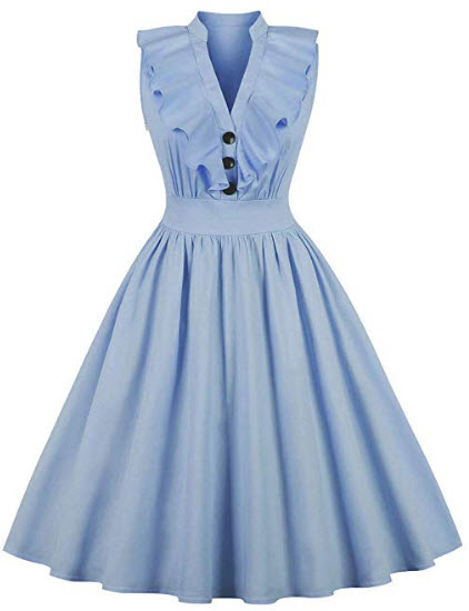 Wellwits Women's Ruffle Plunge V Neck Button Up 1940s Collared Vintage Dress, blue