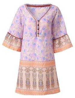 Wenfanal Women Dresses Short Sleeve Boho Floral Mini Dress Party Princess Wedding Beach Summer T ...