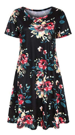 Wenfanal Women Dresses Short Sleeve Boho Floral Pockets Mini Dress Party Sundress Swing Summer T ...