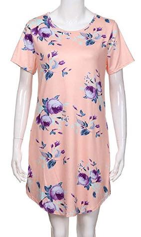 Wenfanal Women Dresses Short Sleeve Floral Printing Pocket Mini Dress Party Wedding Beach Summer ...