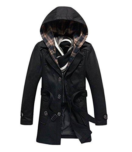 WenHong Men Slim Fit Hooded Casual Trench Coat Jacket Outwear Coat