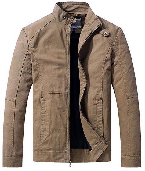 WenVen Men's Warm Casual Full Zip Military Jacket khaki