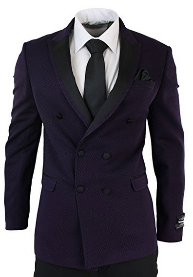 wesen Mens Double Breasted Plum Tuxedo Suit Black Trouser Blazer Slim Fit Purple.