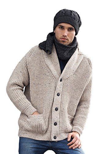 West End Knitwear Two Tone Ribbed Wool Shawl Collar Cardigan
