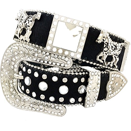 Western Peak Women's Horse Hair Square Horse and Concho Rhinestone Belt Black