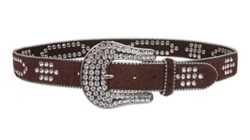 Western Rhinestone Silver Studded Faux Fur Genuine Leather Belt by beltiscool