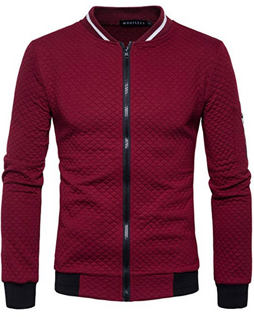 WHATLEES Mens Casual Soft Lightweight Zip Up Baseball Collar Bomber Jacket with Diamond Plaid wi ...