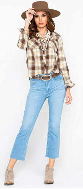 White Crow Women's Plaid Cropped Tail Flannel Western Shirt – Wt184833bb brown