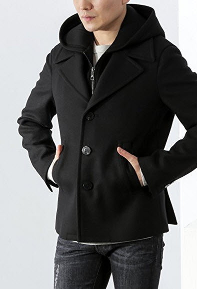 Wiberlux Neil Barrett Men's Hooded Layered Woolen Jacket.