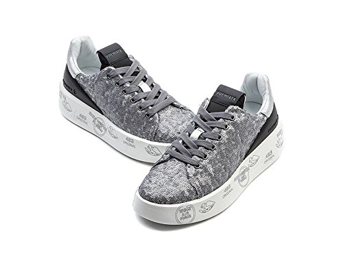 Wiberlux Premiata Belle Women's Printed Thick Sole Sequined Lace-Up Sneakers