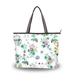 WIHVE Watercolor Rose Floral Cloth Flowers Leaves Women's Tote Bag Top Handle Satchel Hand ...