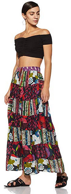 Wild Hazel Women's Cotton Elastic Waist, A-Line Printed Skirt multi color