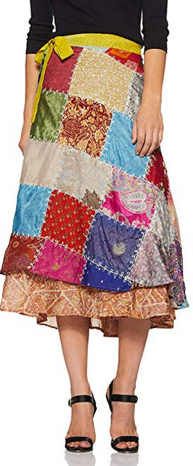 Wild Hazel Women's Viscose Assorted Pach Work Rapron Skirt multi color