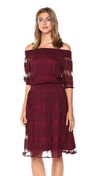 Wild Meadow Womens Off Shoulder Lace Peasant Dress wine