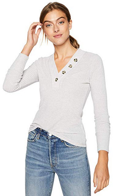 William Rast Womens Anna Long Sleeve Henley Topsilver heather grey