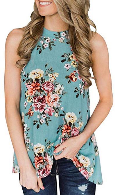 Willow Dance Women's Summer Sleeveless Halter Neck Floral Print Tank Tops Camis Shirts Blo ...