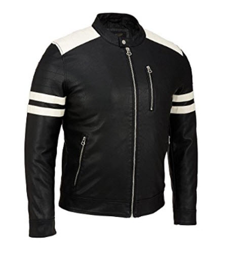 Wilsons Leather Mens Faux-Leather Moto Jacket W/ Storm Collar