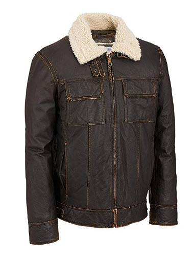 Wilsons Leather Mens Vintage Leather Bomber Jacket W/ Faux-Shearling.