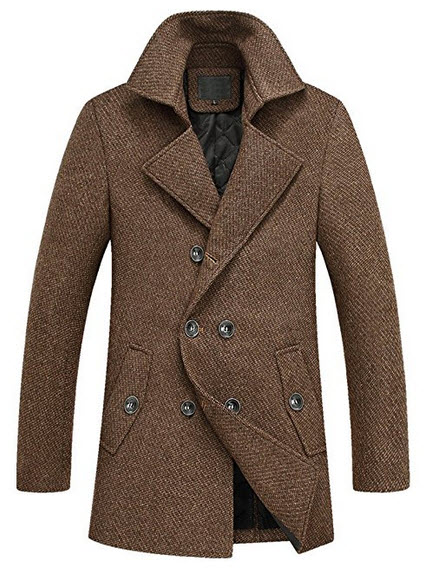 Wincolor Men's Wool Blend Double Breasted Trench Coat Winter Long Peacoat.