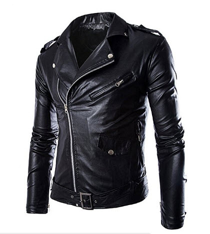 Win8Fong Men's Fashion British White/Black Leather Faux Leather Biker Jacket.