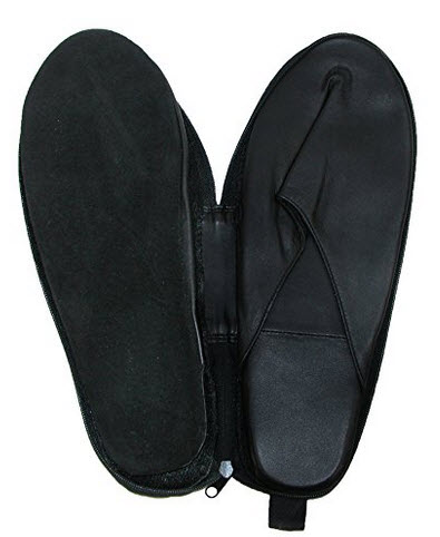 Winn International Men's Leather Travel Slippers with Case, Medium, Black .
