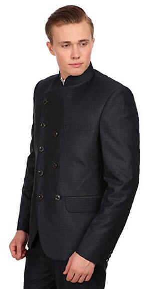 Wintage Men's PV Merino BlendGrandad Collar Festive BlackDouble Breasted Blazer.