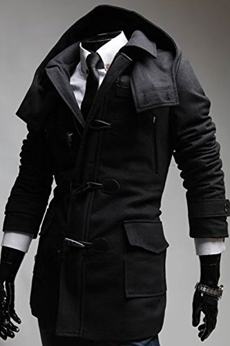 Winter Toggle Hooded Double-Breasted Pea Trench Coat Hooded Fleece by SWORLD-men