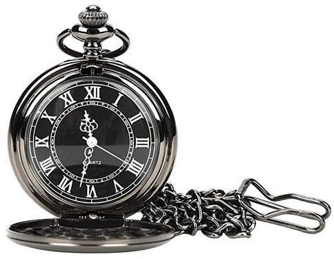 WIOR Black Classical Pocket Watch Retro Steampunk Pattern Quartz Numerals Pocket Watch b