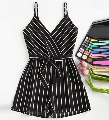 WM & MW Clearance Womens Jumpsuit Sexy V-Neck Striped Sleeveless Cami Strappy Playsuits Shor ...