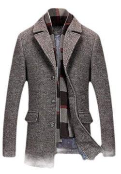 Wofupowga Men Wool Blend Winter Outwear Single-Breasted Jacket Pea Coat