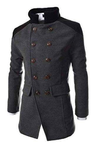 Wofupowga Mens Business Double Breasted Lapel Neck Pocket Wool Blend Coat Jacket