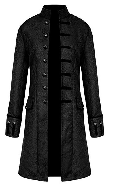Wofupowga Mens Overcoat Stand Collar Steampunk Retro Jacquard Mid-Long Trenchcoats black