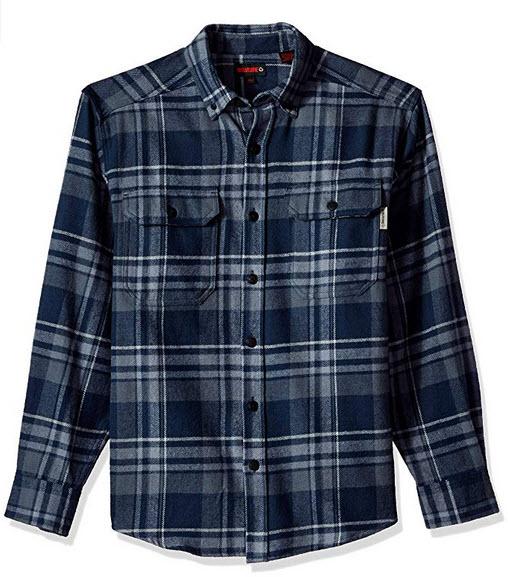 Wolverine Men's Glacier Heavyweight Long Sleeve Flannel Shirt dark navy plaid