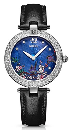 Floral Design Diamond Case Japanese Movement Waterproof Genuine Leather Band Quartz Watch by carlien