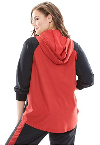Woman Within Women's Plus Size Mesh-Trimmed Colorblock Hoodie