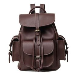 Women Backpack Purse PU Leather Vintage Drawstring Casual Daypack