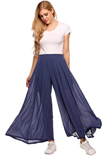 Women Elastic Waist Solid Wide Leg Loose Casual Pleated Chiffon Pants by Zeagoo
