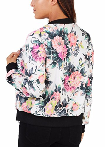 Women's Floral Print Quilted Baseball Jacket Fall Short Biker Bomber Casual Jacket Coat by ...