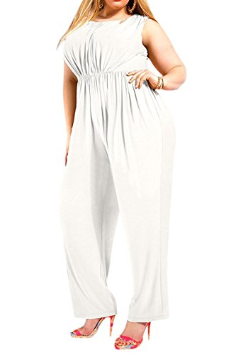 Women's Plus Size Sleeveless High Waisted Long Pants Jumpsuits Romper