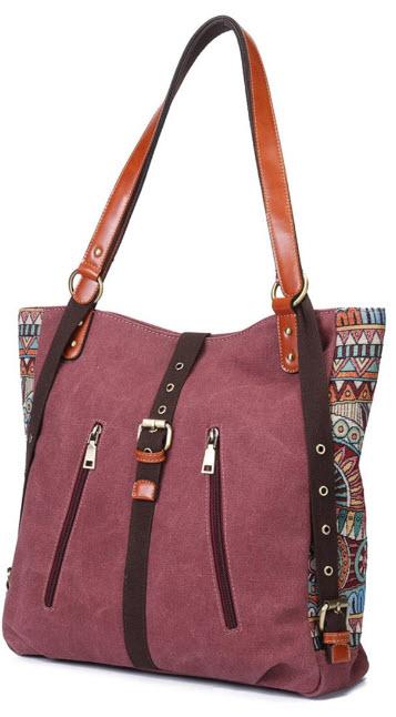 Ourbag Women Shoulder Bag Backpack, Brenice National Canvas Handbags Vintage Flower Crossbody Ba ...