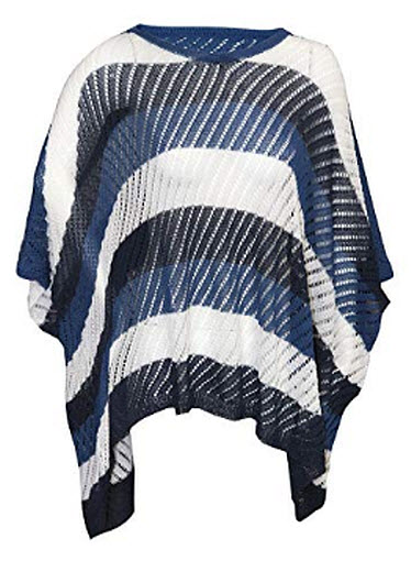 Puli Womens Asymetrical 3-in-1 Pullover Topper Solid Faux Cashmere Poncho Scarf Cardigan. Blue