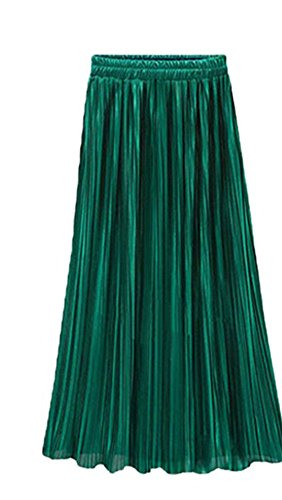 Women's Autumn Winter Double Layer Pleated Retro Silk Long Skirt by TheFound