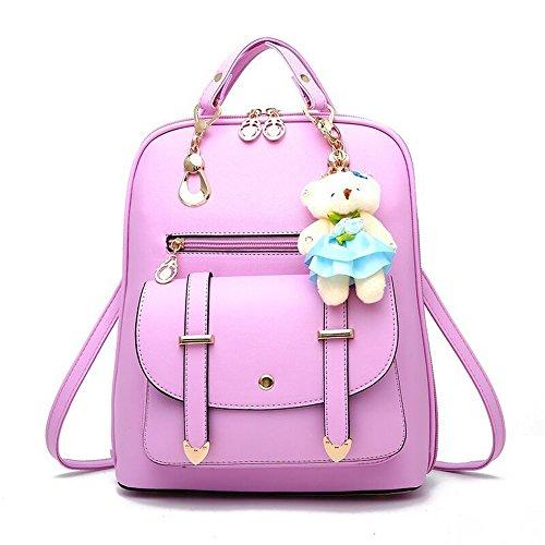 Womens Backpack Leather Multi-Way Girls School Backpack Cartoon Pendant,Purple