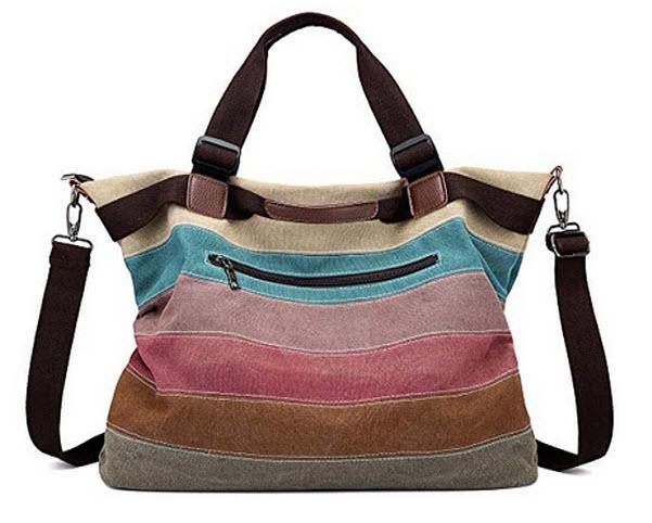 Unives Women's Canvas Handbag,Unives Ladies Tote Hobo Large Shopping Shoulder Bag mlc