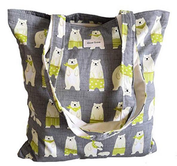 Gorlos Womens Canvas Tote Shoulder Bag Stylish Shopping Casual Bag Foldaway Travel Bag polar bea ...