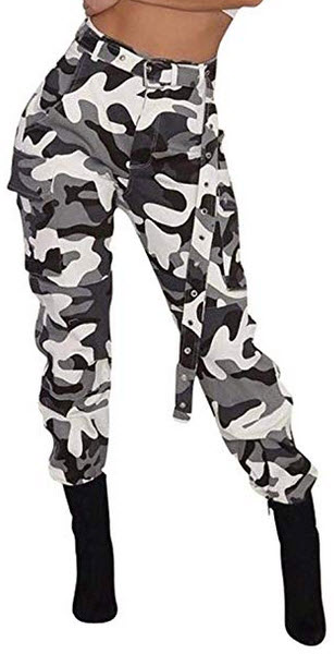 Women's Casual Camo High Waisted Skinny Long Pants Stretch Slim Fit Leggings with Belt Plu ...