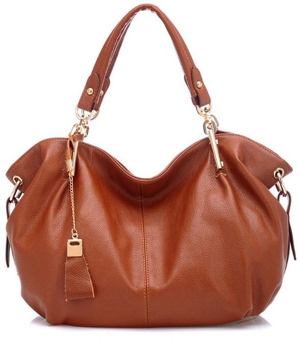 Women's Genuine Leather Tote Shoulder Bag Girls Ladies CrossBody Totes Handbags (Brown)